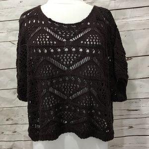 Ya Crochet Sweater Small Cropped Oversize Brown